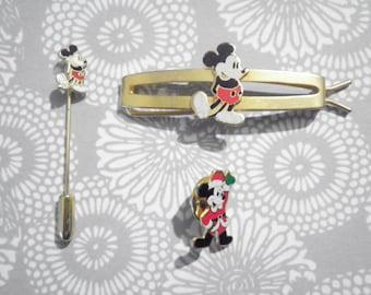1 Set of Disney Mickey Barrette, Stick Pin and Lapel Pin