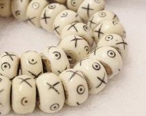 Kenya Bone Beads (10), African Bone Beads , Ethnic Beads, Carved Bone Beads (C110)