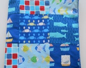 Minky Baby Boy Patchwork Quilt Blanket Robert Kaufman Whales Boats Fish Crabs Beach 2 Sizes--Made to Order