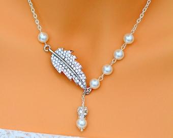 Crystal & Swarovski Pearl Lariat Necklace Pave Crystal Necklace Leaf Necklace Bridesmaid Bridal Necklace Wedding Necklace ASPEN