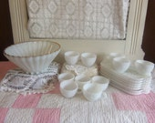 Vintage White or Milk Glass Bowl Cup and Snack Plate Set Party or Wedding Set  B727