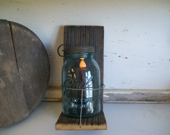 Handmade Wooden Mason Jar Sconce Candle Holder with Vintage Aqua Mason Quart Battery Candle and Hook Included Batteries Not Included B590