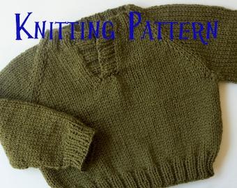 PDF Knitting Pattern - Placket Pullover, Infant Sweater, Baby Toddler Knitting Pattern, Baby Pullover Pattern