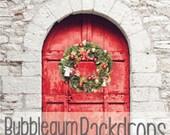Red Door Wreath - Vinyl Photography Backdrop Floordrop Prop