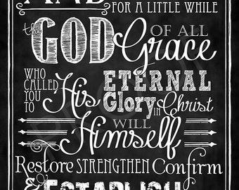 Scripture Art - I Peter 5:10 (NET) Chalkboard Style