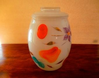 Bartlett Collins Cookie Jar, Vase, White Hand Painted Fruit & Flower
