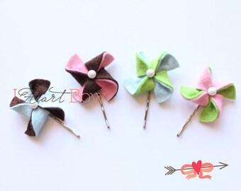 Set of Four Felt Pinwheel Hair Bobby Pins / Felt Pinwheel Bows / Hair Accesories Wool Felt / Pick your Colors // Handmade by IHeartBow