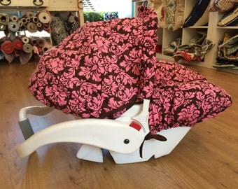 Infant Car Seat Cover in Pink/Brown Damask, Hula Moon Infant Car Seat Cover, Damask