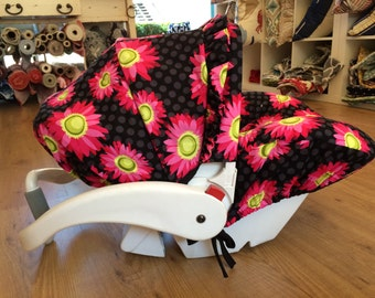 Infant Car Seat Cover in Pink/Black Daisy, Hula Moon Infant Car Seat Cover, Pink/Black Daisy