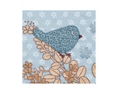 Paper napkin for decoupage, mixed media, collage, scrapbooking x 1. No. 1238 Birdylicious Blue