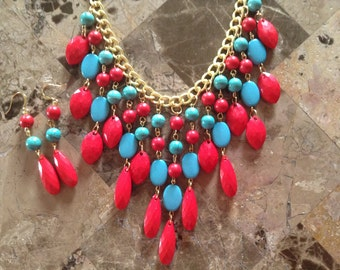 Turquoise Statement Necklace-Bubble Pop Necklace-Chunky Necklace-Bib Necklace-One of a Kind-Hand Made-Designs by Stalinda