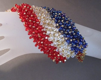 Patriotic Handmade BeadedCuff Bracelet