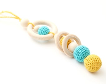 Blue & Yellow Teething Toy, Baby Teether/Wooden rattle with crochet wooden beads and wooden rings