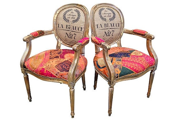 Pair Of Patchwork Chairs Arm Chairs Gilded French Louis Xvi