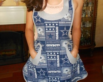 NFL Team Aprons/ Women Apron/ Full Apron/ Cowboys Apron/ Steelers Apron/ Apron