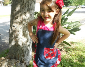 July 4th Child Apron/ Child Apron/ Apron/ Girl Apron/ Jean Apron