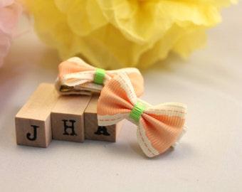 Baby girl hair clips - light orange bow