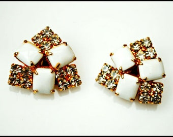 Rhinestone Clip on Earrings - White Milk glass - Mid century