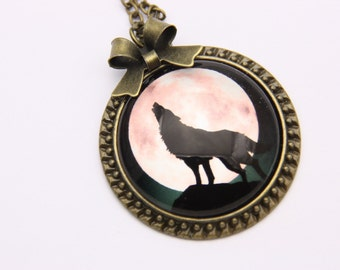 Collar Wolf and moon 2525C