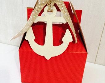 Nautical Birthday Anchor Favor Boxes Red Mini Gable Boxes -Set of 20