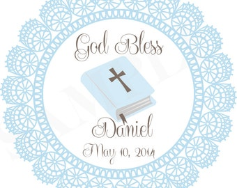 Personalized Baby Blue Boy Baptism / Christening, First Holy Communion Favor Tags - printable file