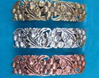 FILIGREE FRENCH BARRETTE 80mm Silver Ox-Copper Ox-Brass Ox finishes