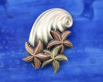 Starfish Seashell Brooch- Starfish- Starfish Jewelry- Seashell Pin- Starfish Pin- Starfish Brooch