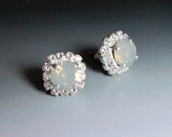 Swarovksi Crystal Halo Stud Earrings in Grey Opal and Clear Cyrstal