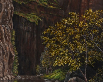 "Western Fall Landscape Zion National Park Giclee Print, ""Autumn in Zion National Park"" - 24x36"""