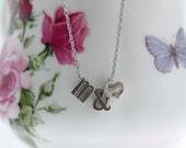 Personalized Mini Initials Silver Necklace - Love Necklace - Custom Bridal Monogram Wedding Jewelry