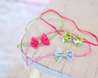 Bow headbands - SET of 3 - little bow, newborn headband, baby headband, photography headband, tiny bow, petite bow, small bow, Baby gift