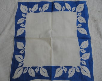 Vintage Cotton Royal Blue White Applique Hankie Hanky Leaf Design Hand Rolled Edges