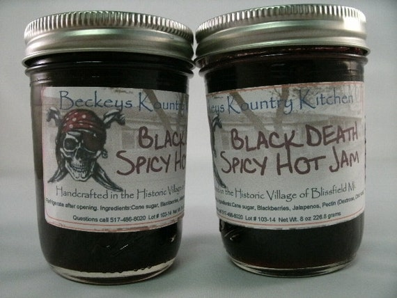 Two Jars Blackberry Jalapeno jam, Homemade by Beckeys Kountry Kitchen jelly fruit spread preserves