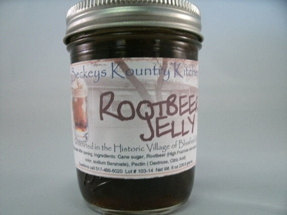 Homemade Rootbeer Jelly, Handmade fruit spread, jam & jelly. Rootbeer fruit preserves1