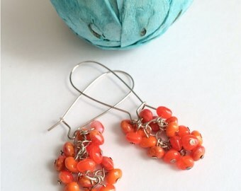 Beaded earrings, cluster earrings, tangerine, silver earrings, orange, silver, dangle, lever back, coral