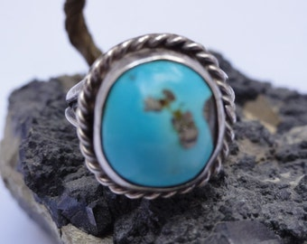 SALE  Sterling silver turquoise ring, dome ring,rope trim turqoise ring,silver dome ring, artisan handmade silver turquoise ring