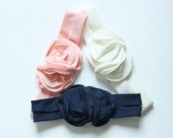 A Girly Fall - Jersey Flower Headband Trio - Fall Headband - Newborn to Adult Headband