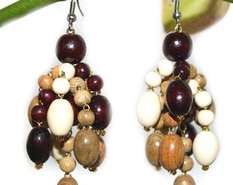 Wooden Earrings Cappuccino. Handmade wooden jewelry.