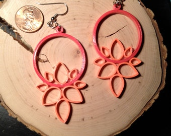 Lotus Earrings - Pink and Coral
