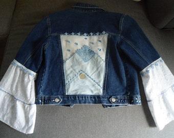 Up Cycled Women's Denim Blue Handkerchief Fairy Jacket size Small