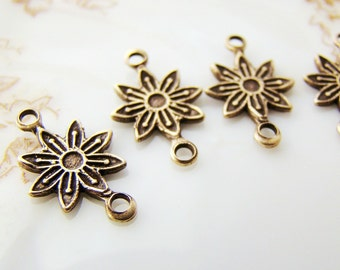 Antiqued Brass Ox Vintage Style Daisy Flower Connectors Links Charms - 6