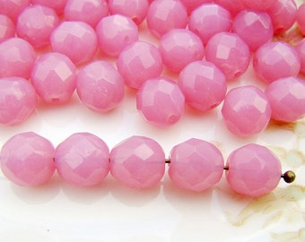 Czech Glass Faceted Rose Pink Opal 8mm Round Beads - 20