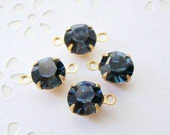 Montana Blue 8mm Round Swarovski Crystal Stones Brass Prong Drop or Connector Settings - 4