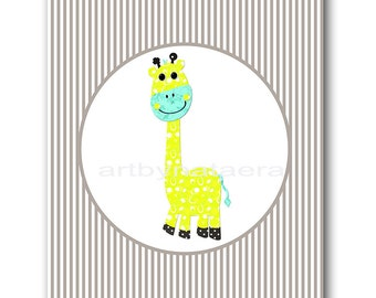 Giraffe Nursery Baby Boy Nursery Art Decor Baby nursery print Kids Room children art print Nursery Print Boy Art giraffe grey yellow