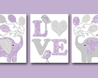 Kids Wall Art Elephant Nursery Bird Nursery Baby Girl Nursery Art Print Children Wall Art Baby Room Decor Kids Print set of 3 Lavender /