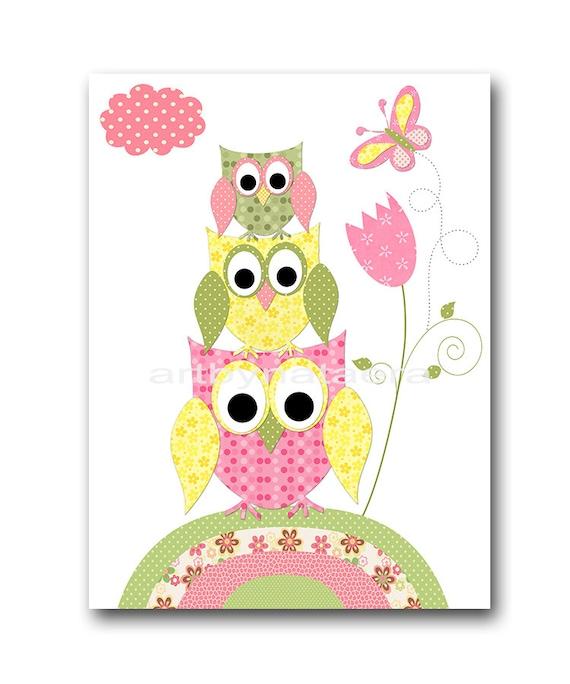 Owl Decor Owl Nursery Baby Girl Nursery Art Decor Nursery Wall