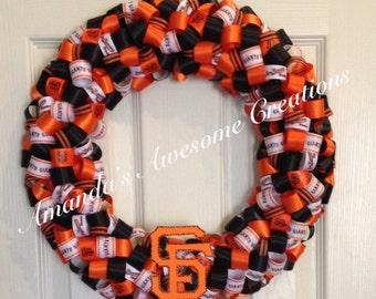San Francisco Giants Baseball Ribbon Wreath
