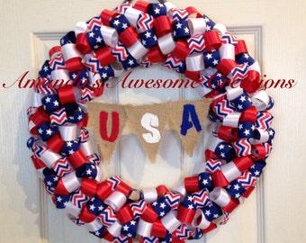 Patriotic U.S.A Ribbon Wreath
