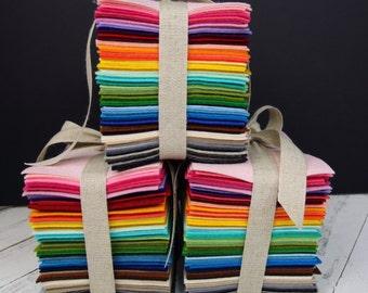 Wool Felt Variety Pack - 100% Wool Felt Bundle-  Pure Merino Wool Felt- 88 Sheets - 4 X 6 inch each sheet