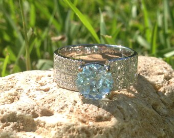 ONLY One Available 18 Karat White Gold Aquamarine and Diamond Ring